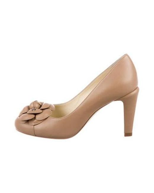 677699aeca1 Chanel - Natural Camellia Leather Pumps Beige - Lyst ...