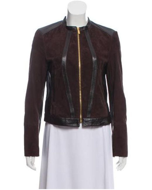 Michael Kors - Brown Leather-trimmed Suede Jacket - Lyst