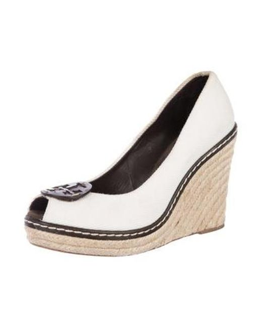 07f71564c14 ... Tory Burch - White Peep-toe Espadrille Wedges - Lyst ...