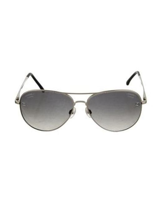 5af83601a444 Chanel - Metallic Cc Pilot Sunglasses Silver - Lyst ...