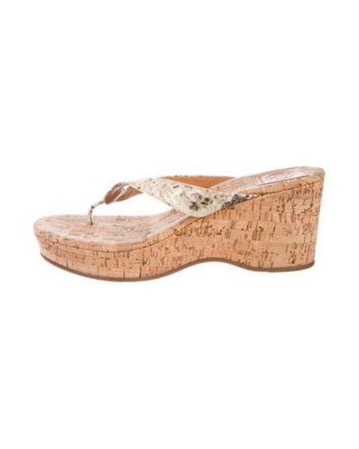 d3c987013 Tory Burch - Metallic Wedge Slide Sandals Tan - Lyst ...