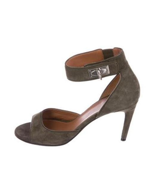 81941ce57be1 Givenchy - Green Suede Ankle-strap Sandals Olive - Lyst ...