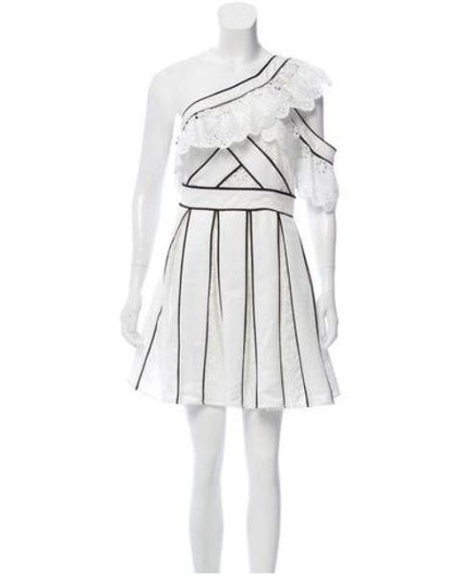 552b929c7e88d Self-Portrait - White Pleated Broderie Anglaise Dress W/ Tags - Lyst ...