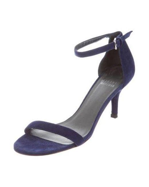 eff1c27119ad5f ... Stuart Weitzman - Blue Suede Ankle Strap Sandals - Lyst ...