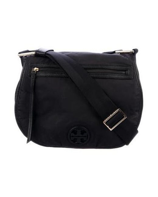 80a21d4276c0 Tory Burch - Metallic Logo Saddle Crossbody Bag Black - Lyst ...