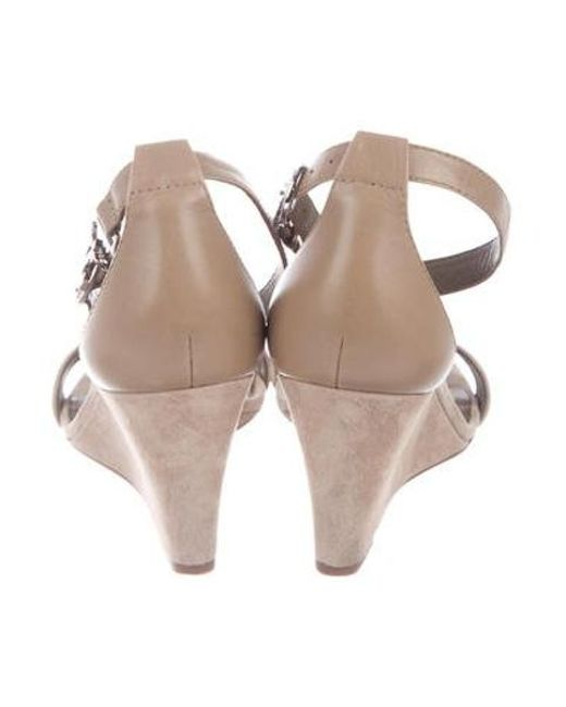 472feb12b6f ... Tory Burch - Natural Suede Ankle Strap Wedges Tan - Lyst
