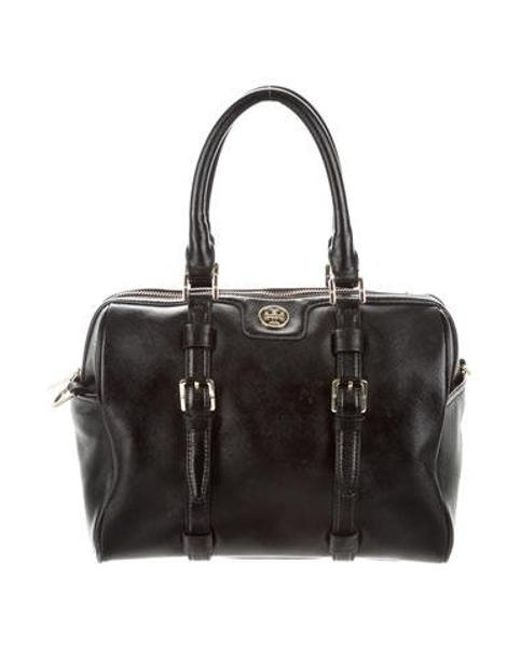 b619a5e3e90f Tory Burch - Metallic Textured Leather Satchel Black - Lyst ...