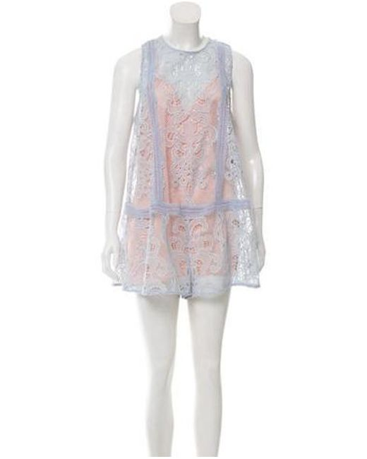 37a04a2b6bc7 Alice McCALL - Blue Lace Embellished Romper - Lyst ...