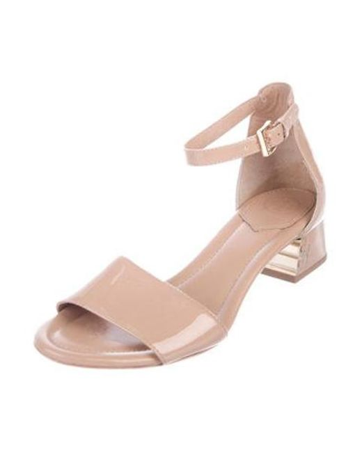 106aaf6e0603bb ... Tory Burch - Metallic Patent Leather Ankle Strap Sandals Beige - Lyst  ...