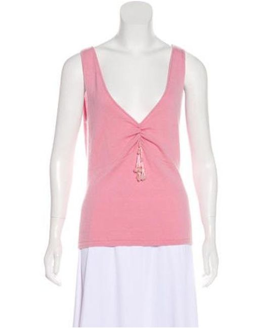 b8e0eb1655f82 Naeem Khan - Pink Sleeveless Cashmere Top - Lyst ...