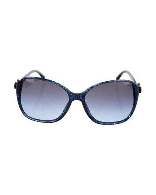 e2f53485a8f3 Chanel - Metallic Cc Bow Sunglasses Blue - Lyst ...