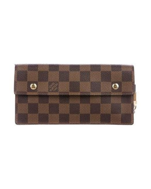 e9161d3d9097 Louis Vuitton - Natural Damier Ebene Accordeon Wallet Brown - Lyst ...