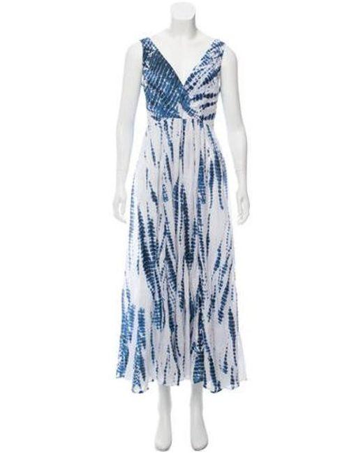 Michael Kors Blue Tie Dye Maxi Dress Pattern Prints Lyst