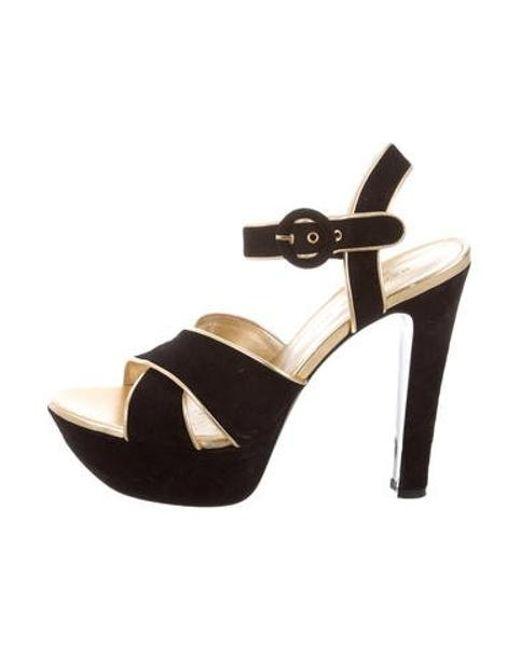a6b59284fde Barbara Bui - Metallic Crossover Platform Sandals Brown - Lyst ...