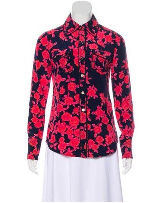 48fa010e9a5e13 Tory Burch - Pink Floral Silk Top - Lyst ...