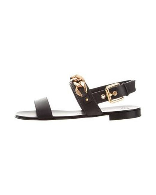 f2ad4c725 Giuseppe Zanotti - Metallic Chain-trimmed Leather Sandals W  Tags Black for  Men ...