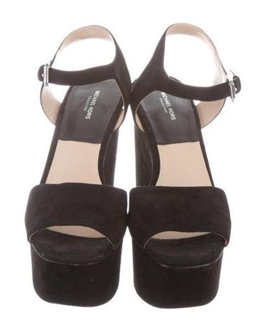 164ccbd64d6 ... Michael Kors - Black Suede Platform Sandals - Lyst ...