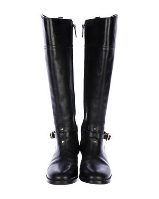 cccf9abac6e ... Tory Burch - Metallic Leather Round-toe Knee-high Boots Black - Lyst ...