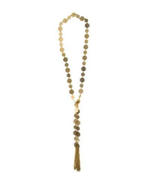 Arme De L'Amour - Metallic Punch Hole Tassel Lariat Necklace Gold - Lyst