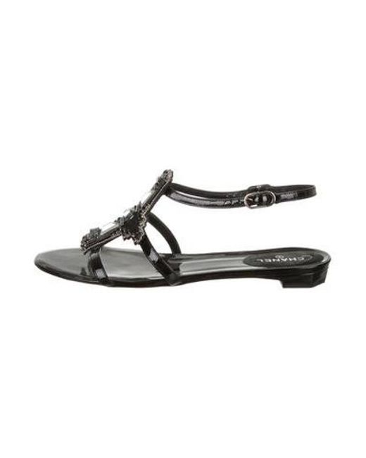 10457b21adeff Chanel - Metallic Embellished Patent Sandals Black - Lyst ...