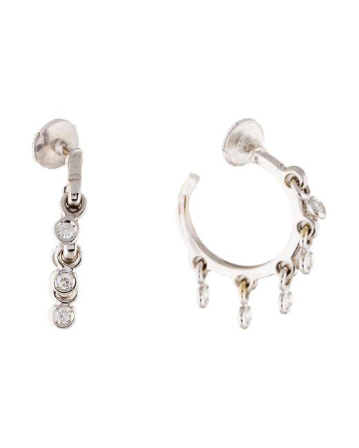 Dior | Metallic 18k Coquin Diamond Hoop Earrings White | Lyst