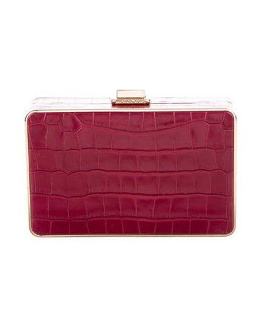 91b1360031a9 Michael Kors - Metallic Embossed Leather Crossbody Bag Red - Lyst ...