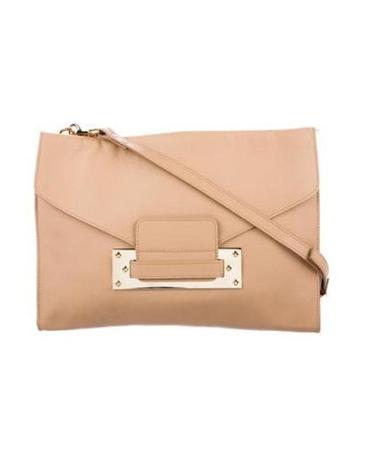 Sophie Hulme - Metallic Leather Envelope Clutch Beige - Lyst