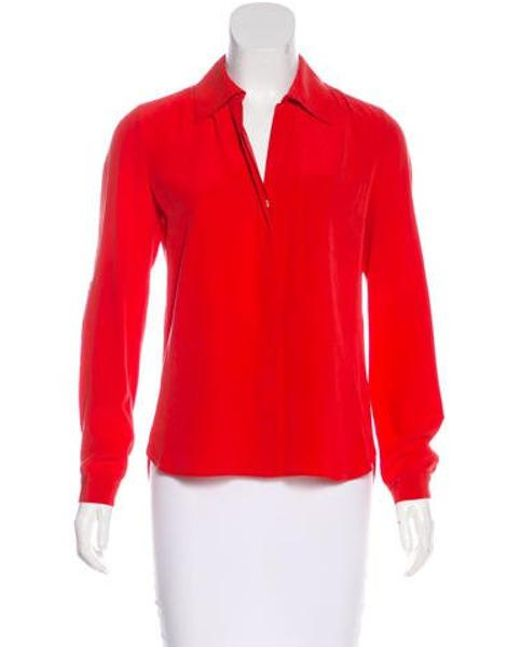 d2bc8f9aaaf643 Lyst - Diane Von Furstenberg Lorelei Two Silk Top in Red - Save 40.0%