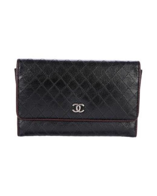 7b9c6cfc642f Chanel - Metallic Diamond Stitch Cc Wallet Black - Lyst ...