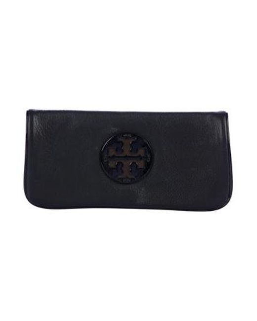 1be3c29dc61 Tory Burch - Metallic Leather Fold-over Clutch Black - Lyst ...