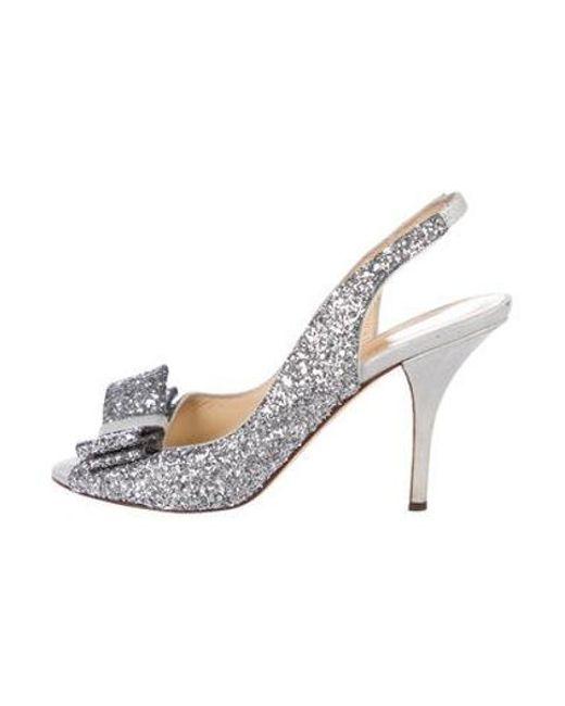 148f6ebf2f2 Kate Spade - Metallic Glitter Peep-toe Slingback Pumps Silver - Lyst ...