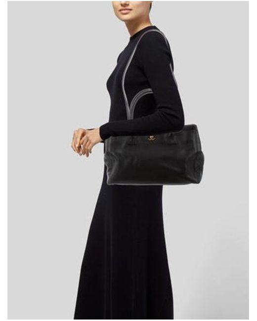 6d00aa842a36 ... Chanel - Metallic Cerf Tote W/ Strap Black - Lyst ...