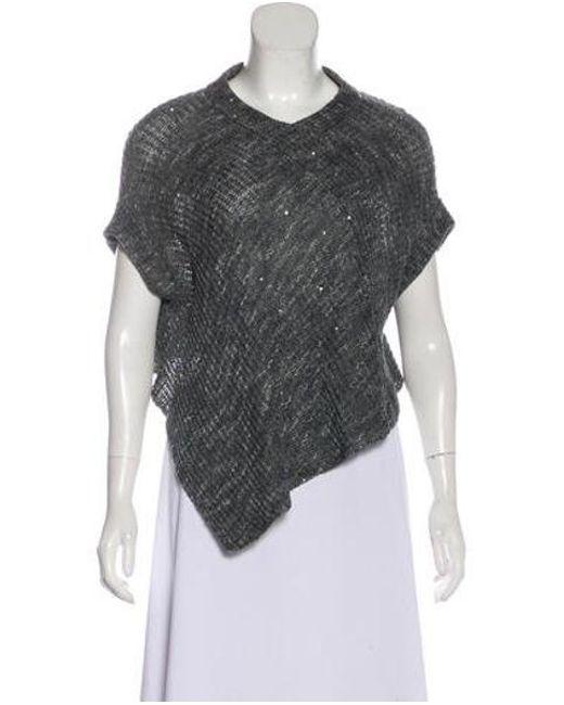 58a229c8c2 Brunello Cucinelli - Blue Sequined Knit Sweater - Lyst ...
