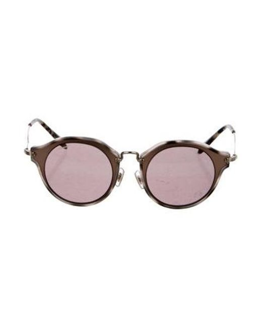67e673dbba9 Miu Miu - Metallic Miu Tinted Round Sunglasses Brown - Lyst ...