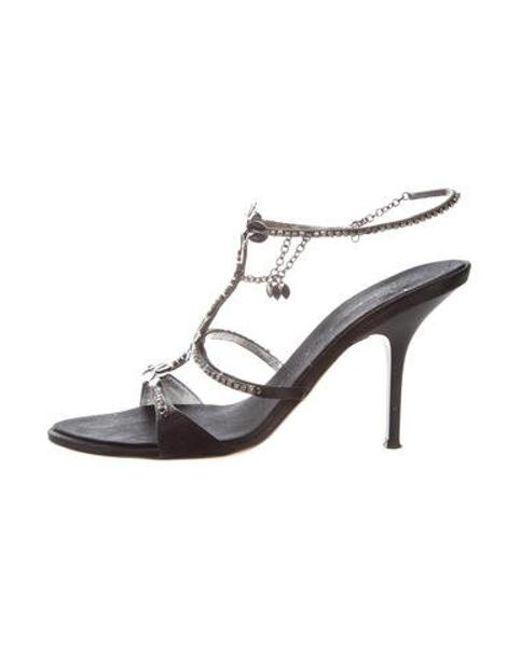 0251c81f009 Giuseppe Zanotti - Black Embellished Satin Sandals - Lyst ...