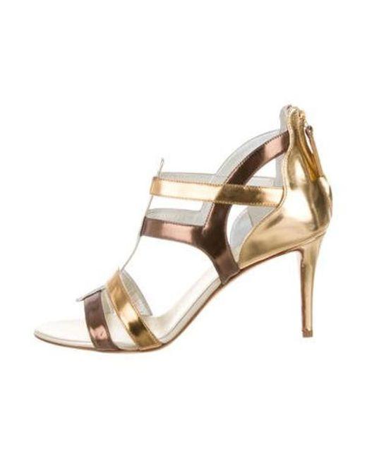 ff26e3fa192 Giuseppe Zanotti - Metallic T-strap Sandals - Lyst ...