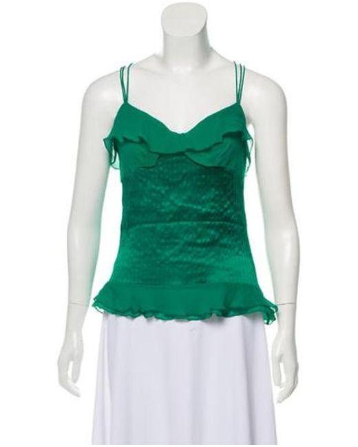 44f77c3e589c7 Diane von Furstenberg - Green Silk Sleeveless Top - Lyst ...