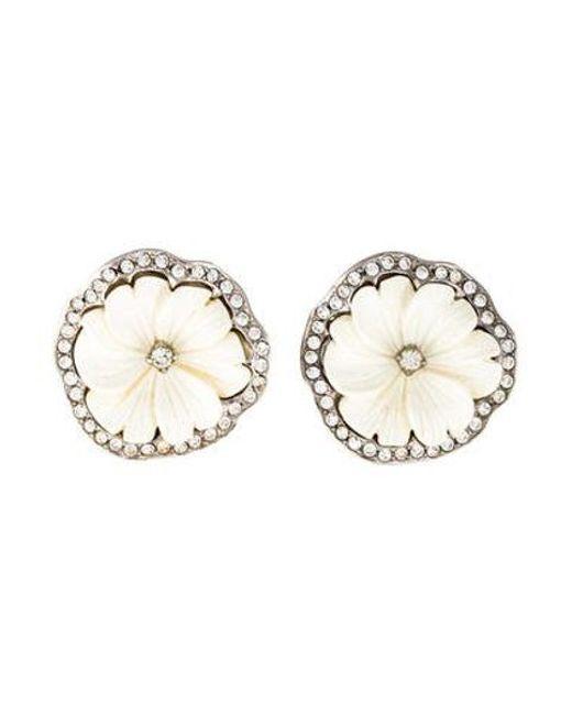 Women S Metallic Resin Crystal Fl Clip On Earrings Silver