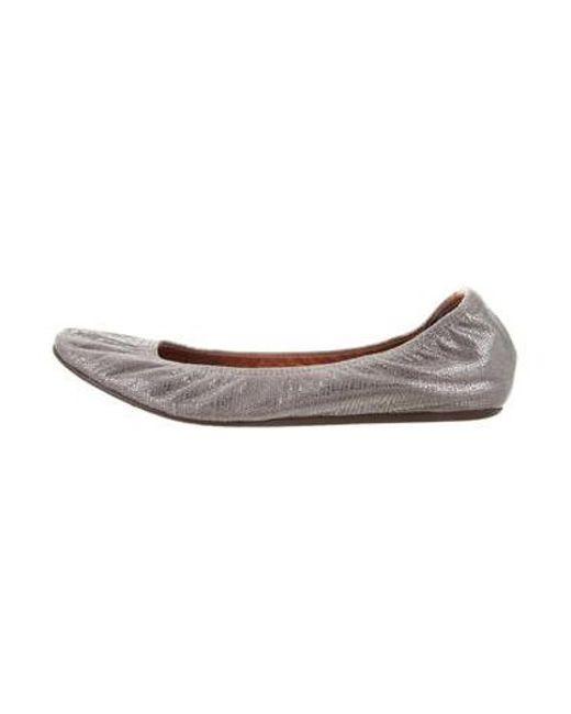 2cbb8837539 Lanvin - Metallic Embossed Ballet Flats - Lyst ...