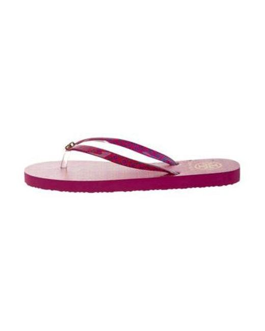 7acd2d315facf Tory Burch - Pink Patent Leather Slide Sandals - Lyst ...