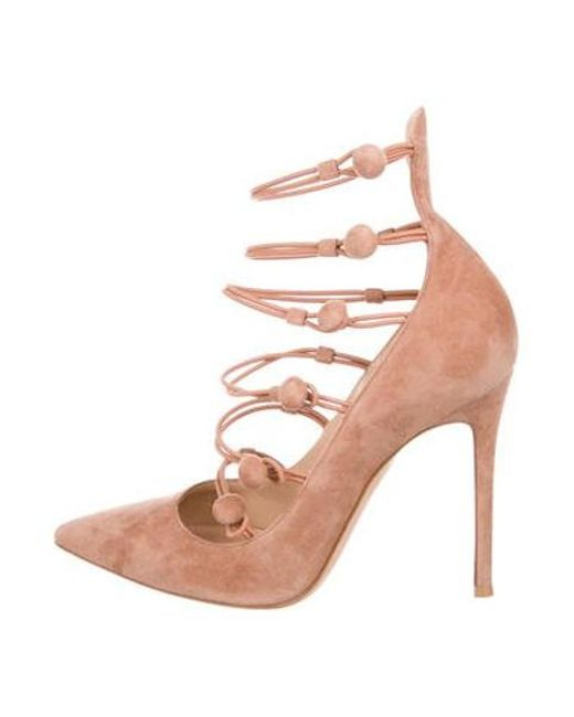 4a6bdcc03adb Gianvito Rossi - Pink Suede Pointed-toe Pumps - Lyst ...