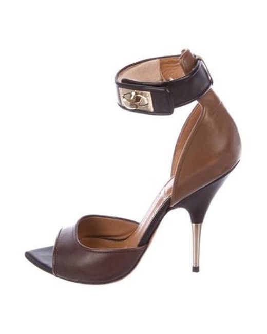 cab718f46e42 Givenchy - Metallic Leather Shark-lock Sandals Brown - Lyst ...