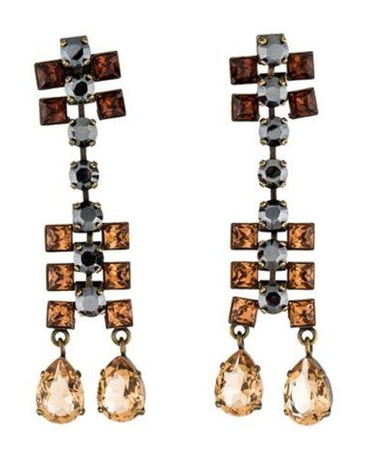 Lanvin - Metallic Crystal Drop Earrings Gold - Lyst