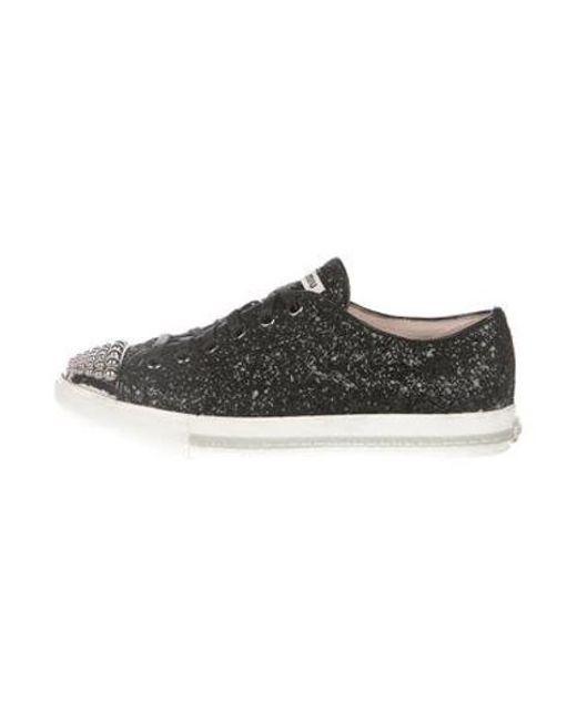 a2b04fcadcf3 Miu Miu - Metallic Miu Glitter Cap-toe Sneakers Black - Lyst ...