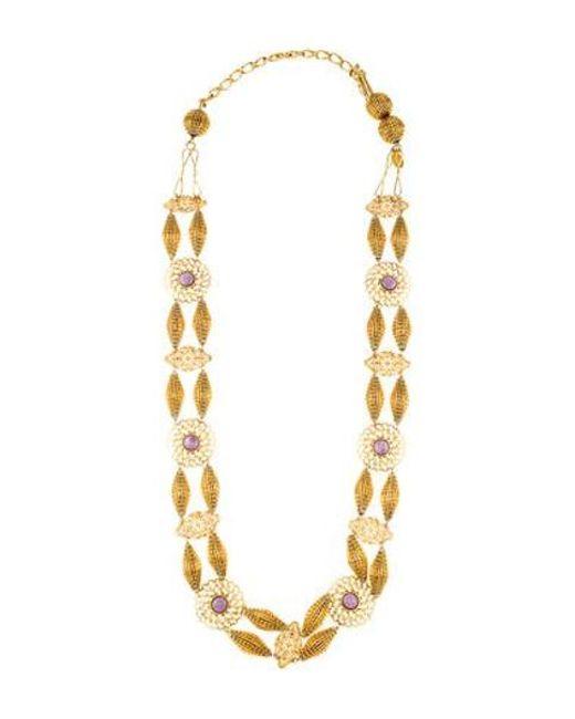 Erickson Beamon - Metallic Dyed Chalcedony Station Necklace Gold - Lyst