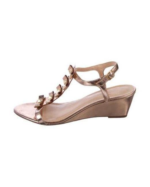 41c192cf32789d Kate Spade - Metallic Wedge Sandals Rose - Lyst ...