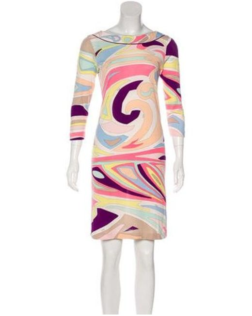 58746c341999 Emilio Pucci - Pink Silk Mini Dress - Lyst ...
