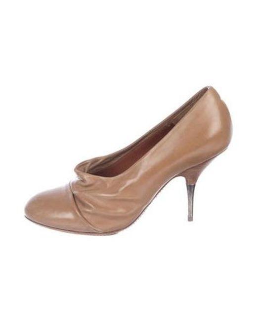 7c4a99dc65 Dries Van Noten - Metallic Leather Round-toe Pumps Tan - Lyst ...