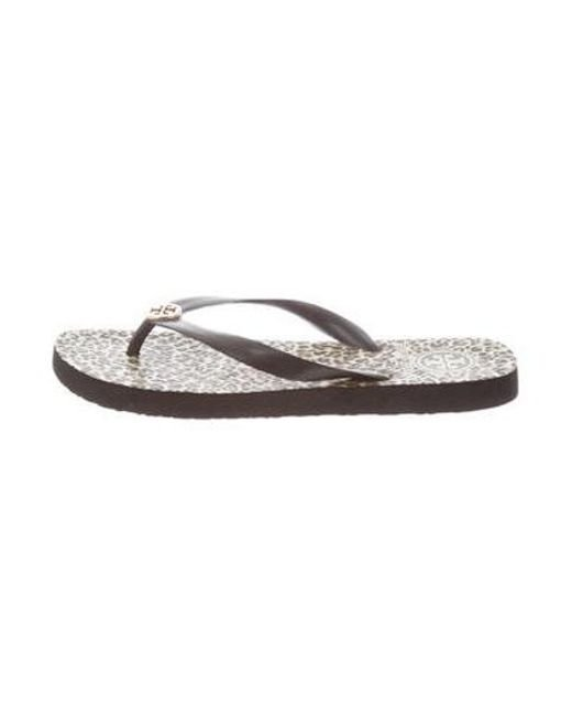 1bc26327a267f7 Tory Burch - Metallic Round-toe Thong Sandals Black - Lyst ...