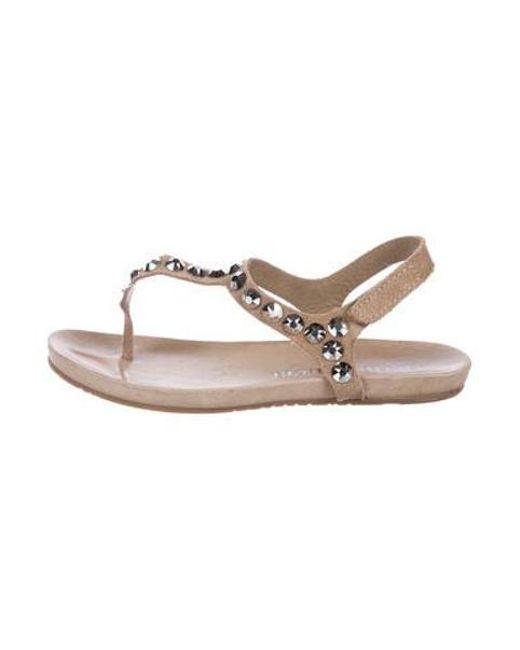 fdde20dcb415 Pedro Garcia - Brown Crystal-embellished Suede Sandals - Lyst ...